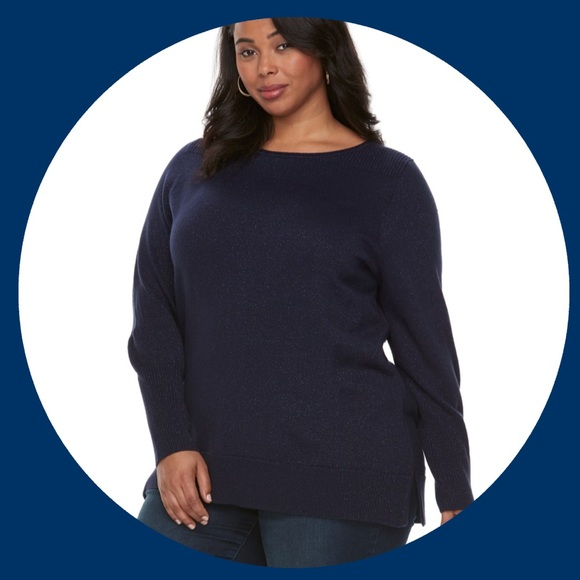 8308d561606 Plus Size APT. 9 Blue Lurex Crewneck Sweater